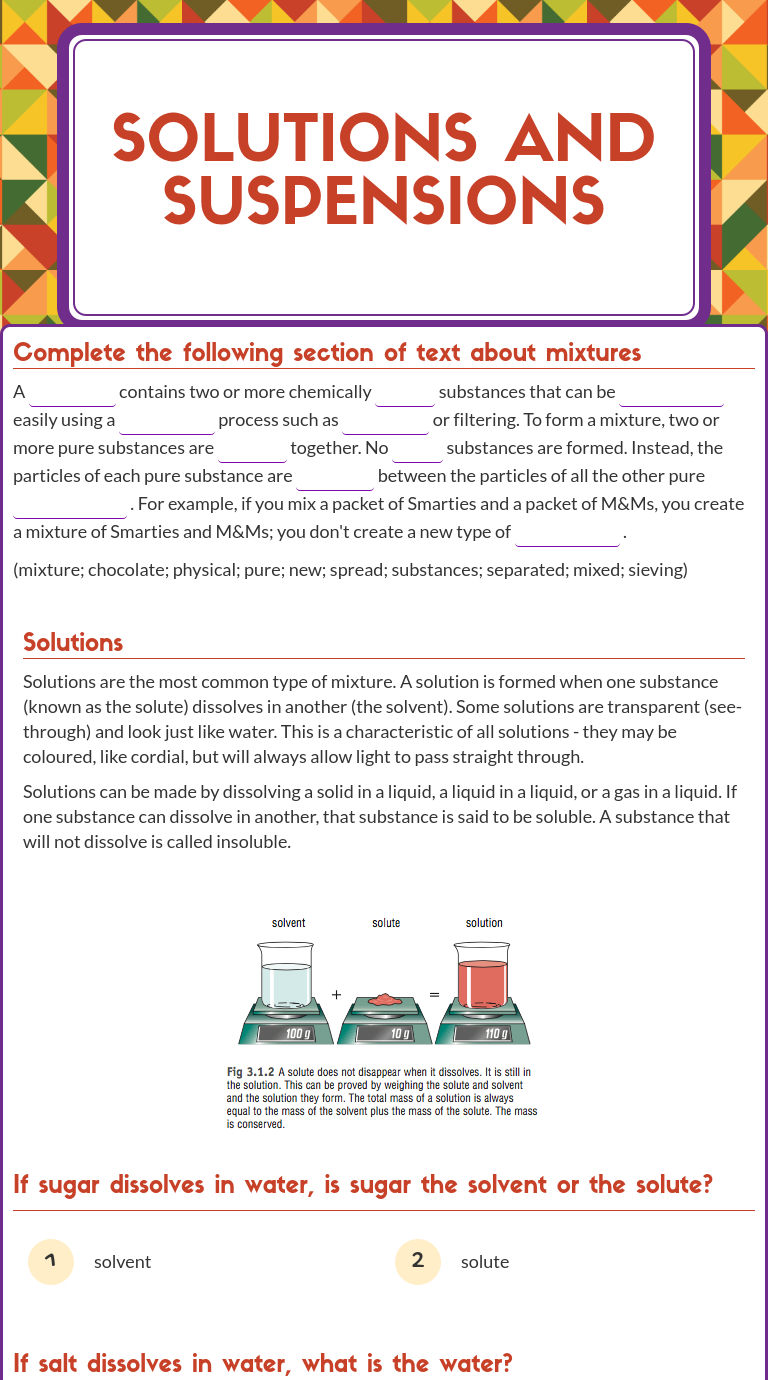 "Wizer Blended Worksheet ""solutions And Suspensions"". 