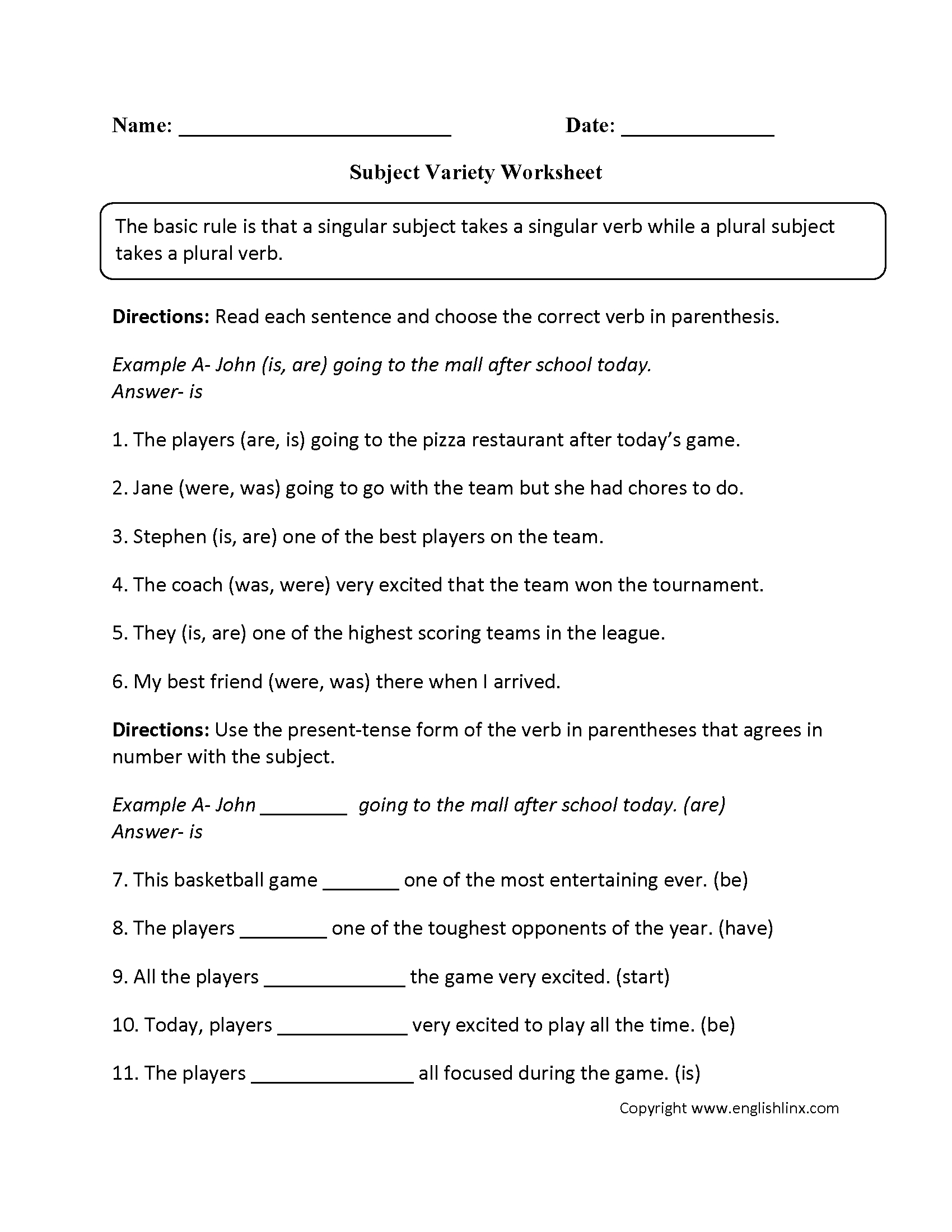Word Usage Worksheets   Subject Verb Agreement Worksheets   Free Printable Subject Verb Agreement Worksheets