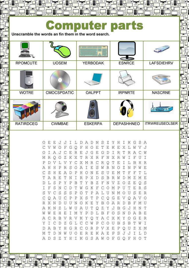 Wordsearch - Computer Parts Worksheet - Free Esl Printable | Parts Of The Computer Worksheet Printable