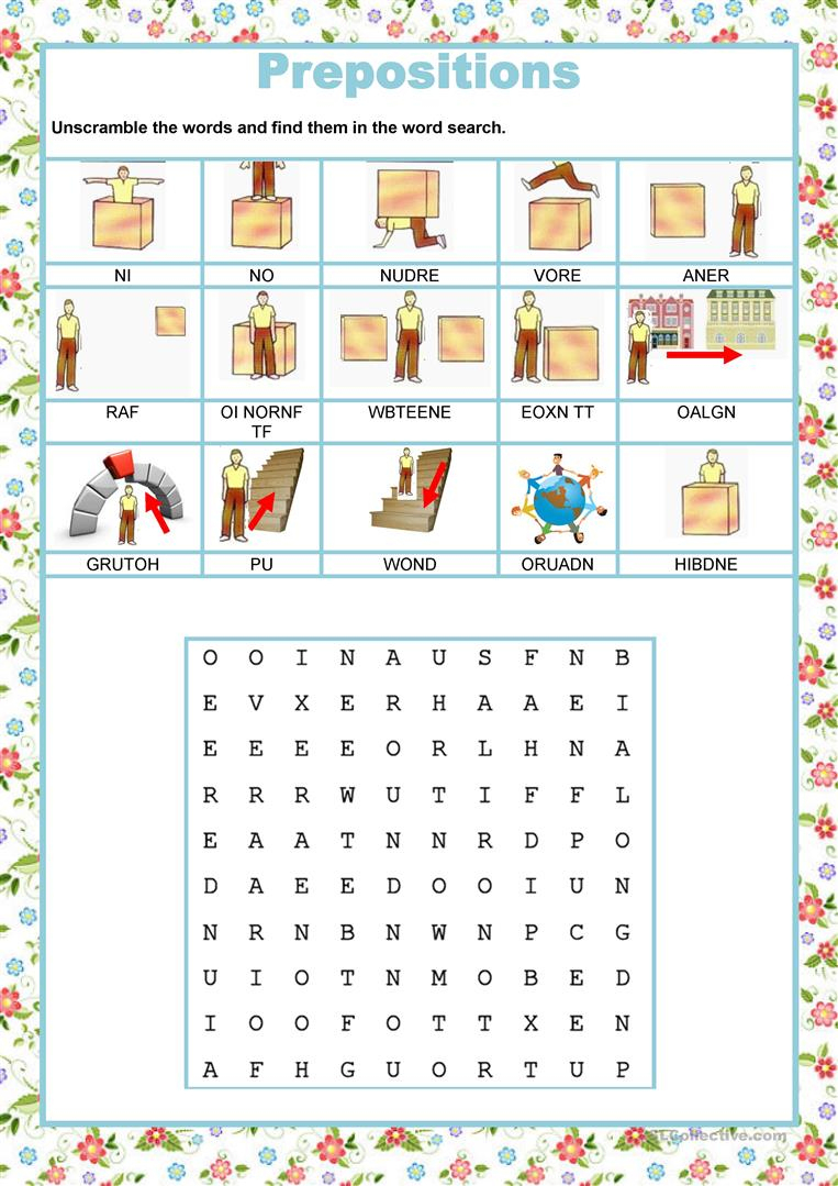 Wordsearch - Prepositions Worksheet - Free Esl Printable Worksheets | Printable Preposition Worksheets
