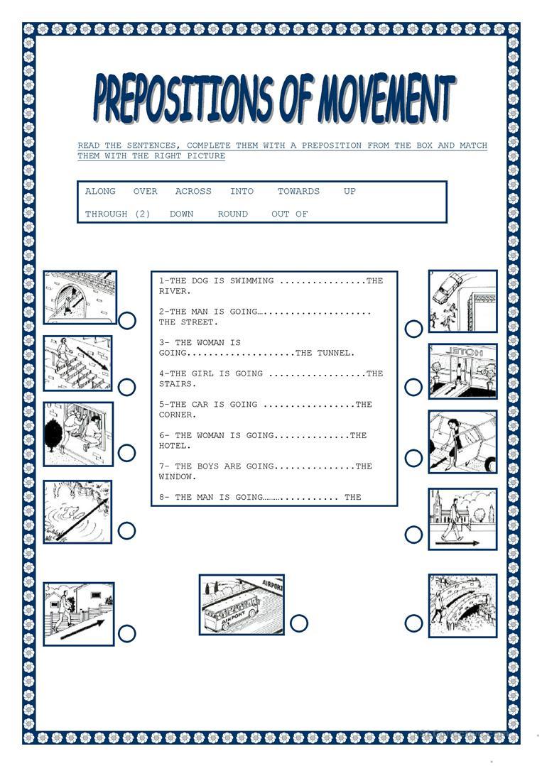 Worksheet : Free Esl Prepositions Of Movement Worksheets Preposition | Free Printable Preposition Worksheets For Kindergarten