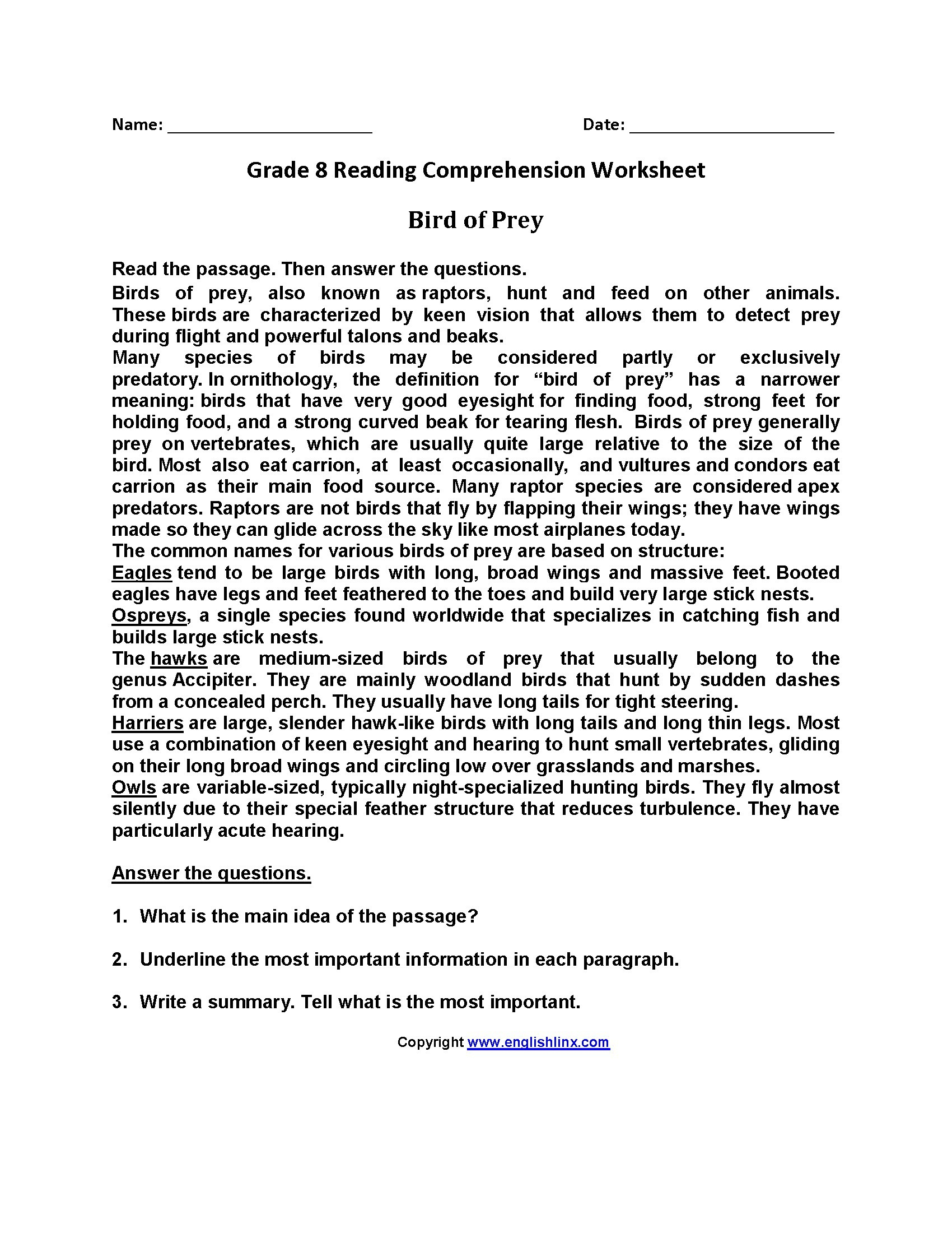 Worksheet : Free Printable Reading Comprehension Worksheets For 3Rd | Free Printable Reading Comprehension Worksheets For Adults