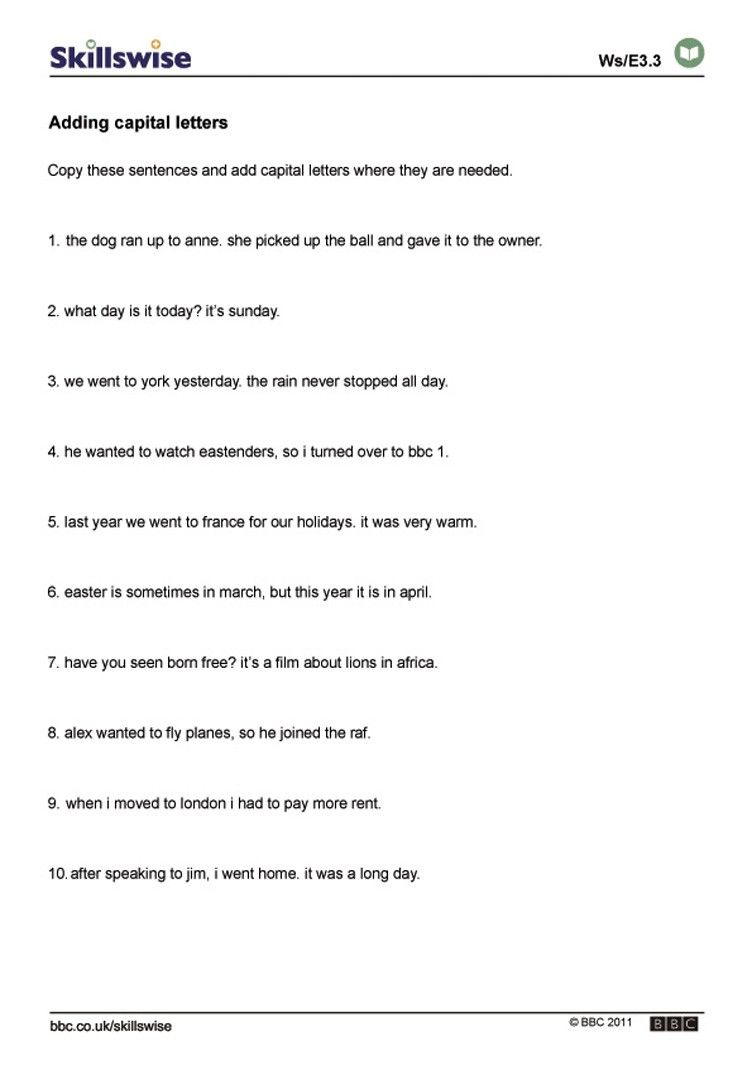 Worksheets On Capital Letters And Full Stops   Unseen Passage Yuvika   Free Printable Worksheets For Punctuation And Capitalization
