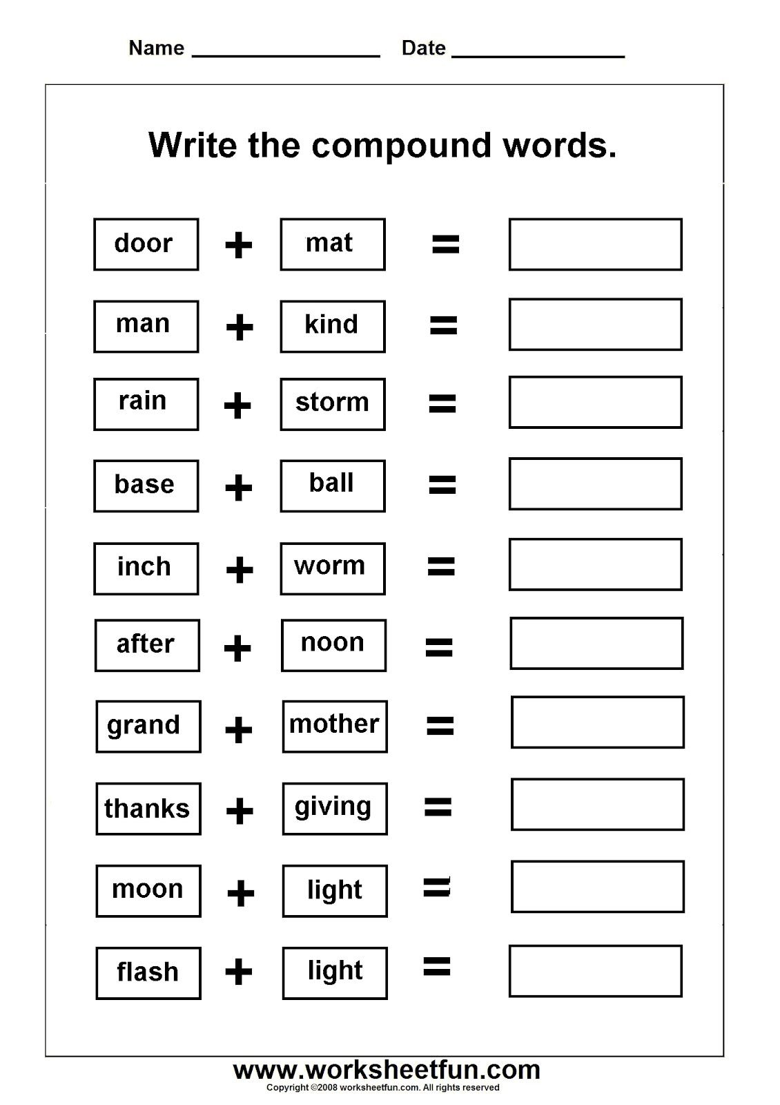 Worksheets On Compound Words With Pictures | Ela Activities | Free Printable Compound Word Worksheets
