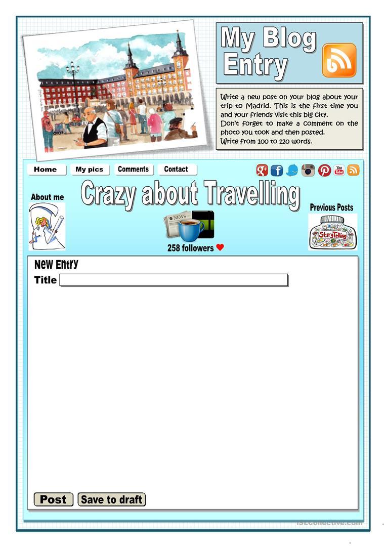 Write A Blog Entry Worksheet - Free Esl Printable Worksheets Made | Blog Worksheet Printable