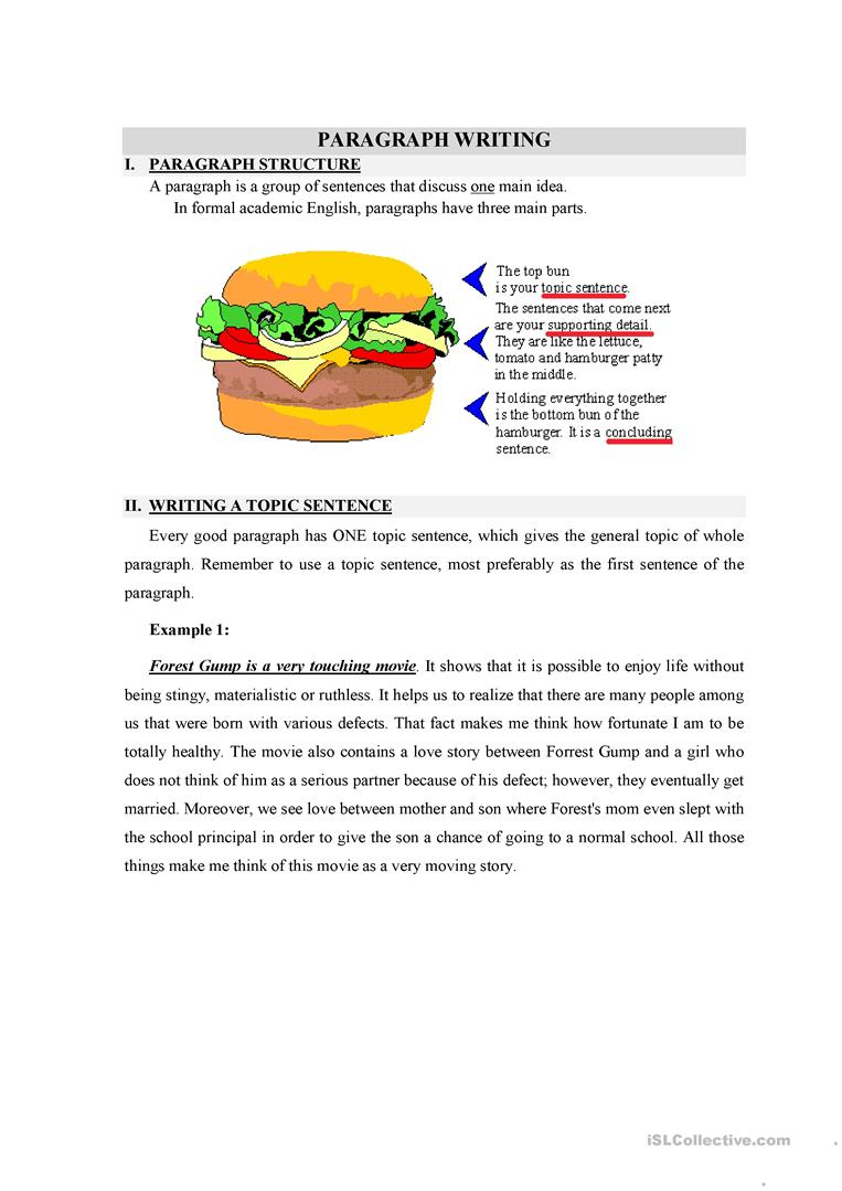 Writing A Topic Sentence Worksheet - Free Esl Printable Worksheets | Free Printable Paragraph Writing Worksheets