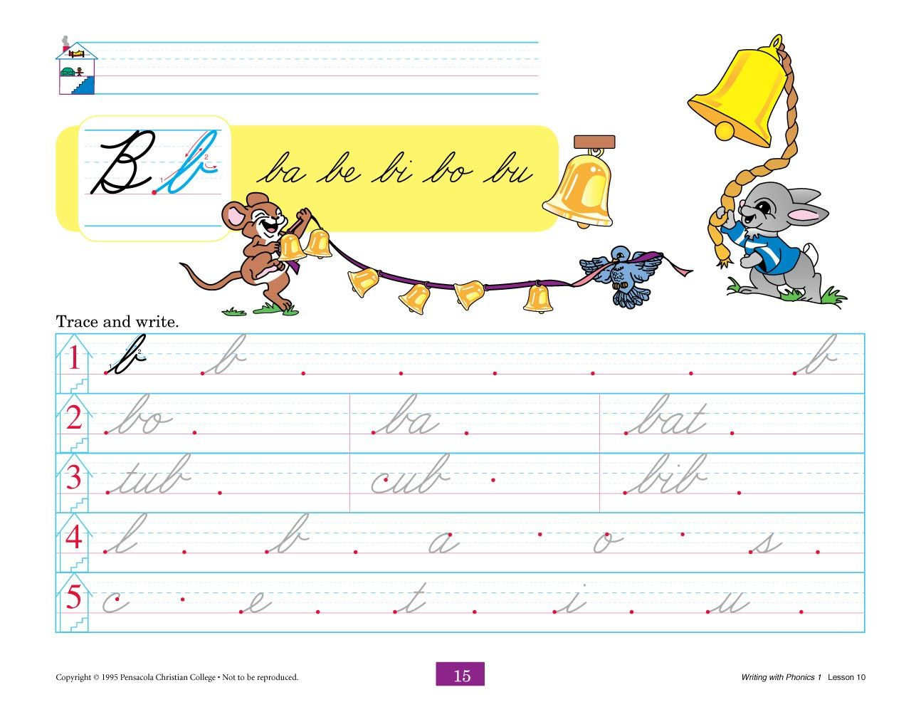Writing With Phonics 1 Cursive | Creative Entertainment | Phonics | Abeka Printable Worksheets