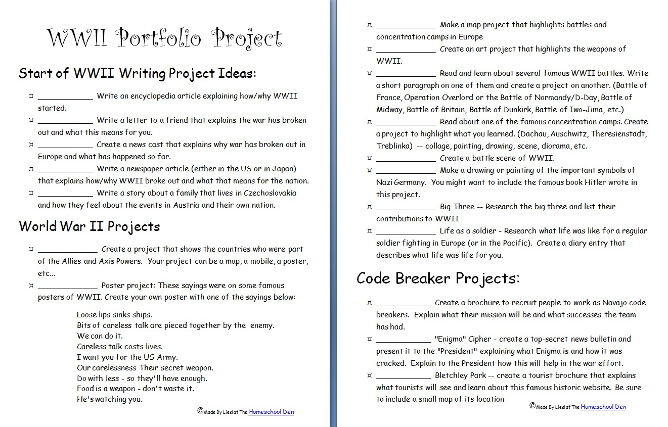 Wwii Portfolio Project - Homeschool Den | Wwii Printable Worksheets