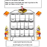 Alphabetical Order On The Shelf   Worksheet. | Library | Free Library Skills Printable Worksheets