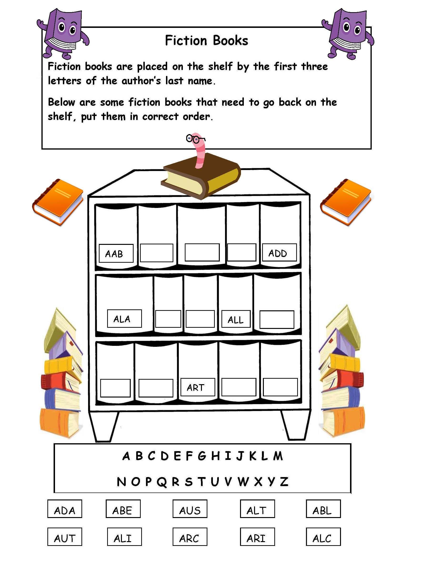 Alphabetical Order On The Shelf - Worksheet. | Library | Free Library Skills Printable Worksheets