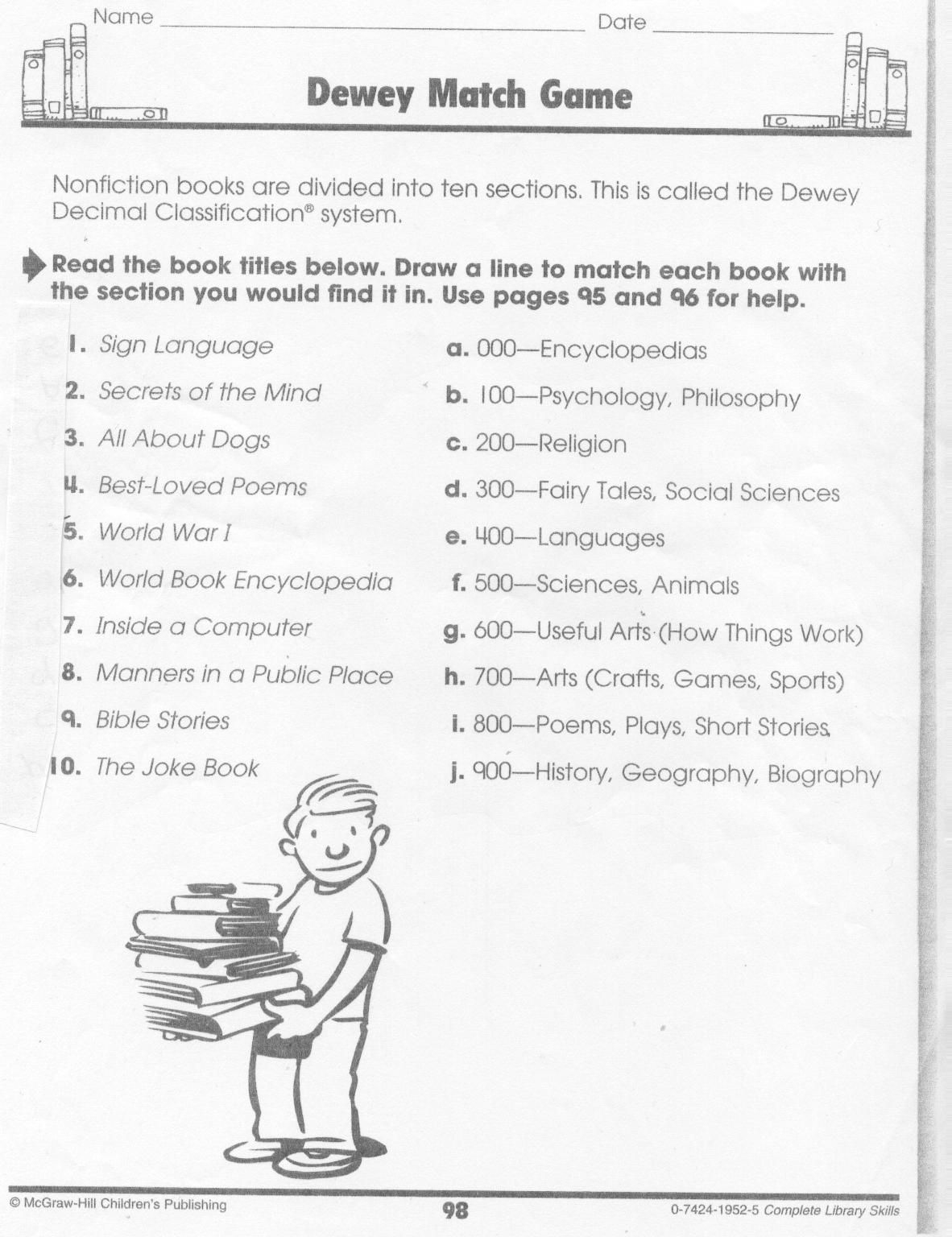 Dewey+Decimal+System+Worksheets In 2020 | Dewey Decimal | Free Library Skills Printable Worksheets
