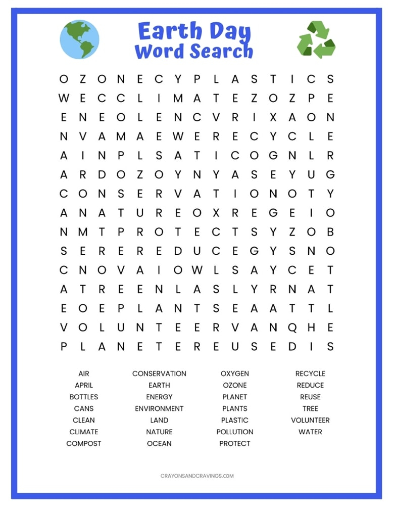 Earth Day Word Search Free Printable Worksheet | Free Printable Word Search Worksheets For Adults
