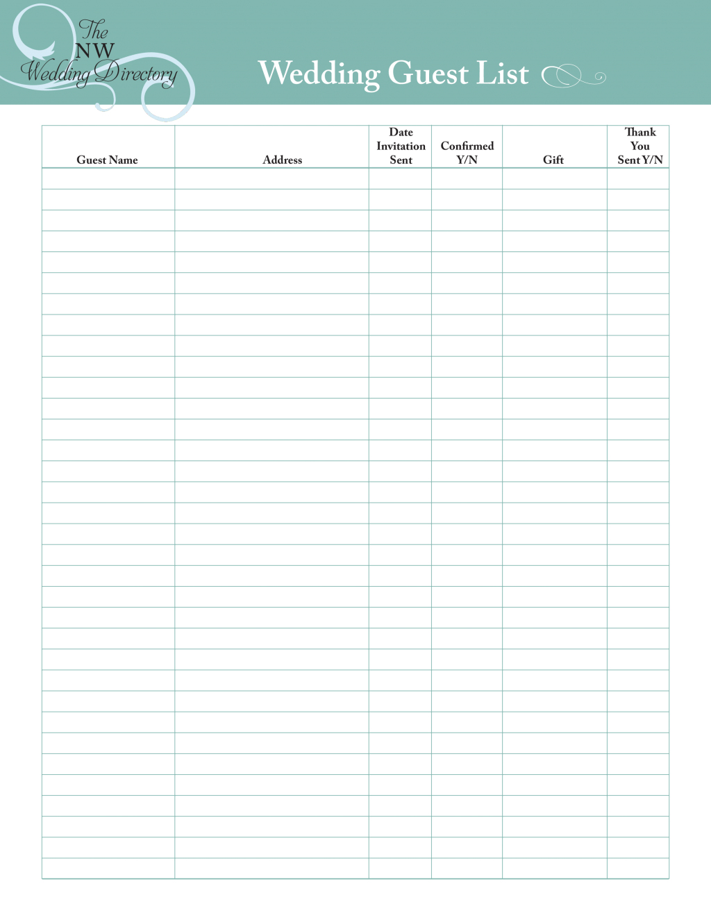 Free Printable Ng Guest List Template Book Checklist Excel | Wedding Guest List Worksheet Printable