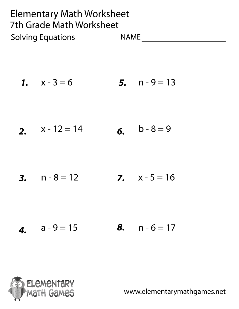 Free Printable Solving Equations Worksheet For Seventh Grade | Solving Equations Printable Worksheets