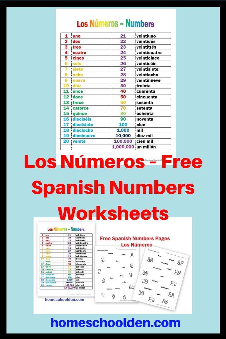 Los Números – Free Spanish Numbers Worksheets | Spanish | Numbers In Spanish Worksheet Printable