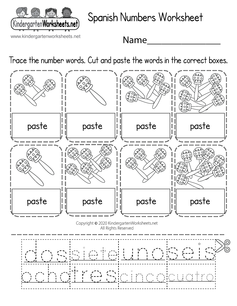 Spanish Numbers Worksheet For Kindergarten (Free Printable) | Numbers In Spanish Worksheet Printable