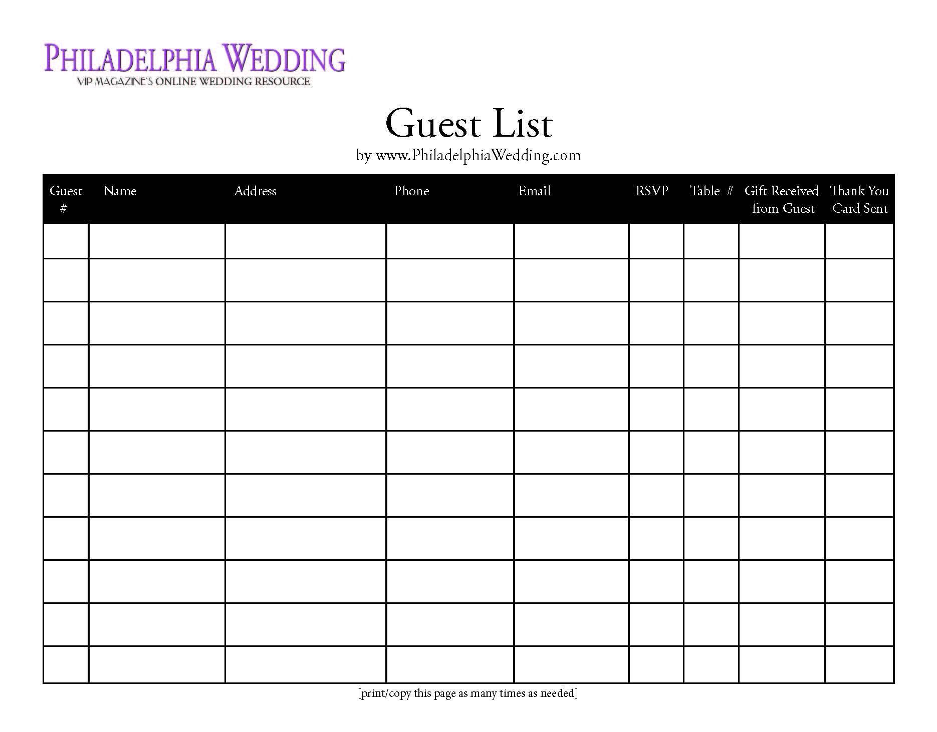 Wedding Guest List | Wedding Invitation List, Wedding Guest | Wedding Guest List Worksheet Printable